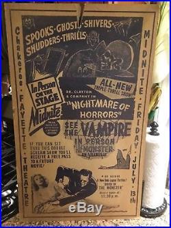 Spook Show Window Card Poster Vintage Original 17X 28 Large