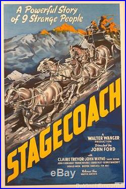 Stagecoach John Wayne Vintage Movie Poster Lithograph Hand Pulled S2 Art Ltd Ed