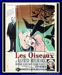 THE BIRDS Hitchcock 4x6 ft Vintage French Grande Original Movie Poster 1963
