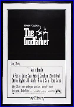 THE GODFATHER CineMasterpieces VINTAGE ORIGINAL MOVIE POSTER LINEN 1972