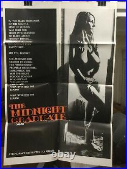 THE MIDNIGHT GRADUATE ORIGINAL ADULT POSTER, USCHI DIGARD, SEXPLOITATION vintage