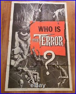 THE TERROR Original 1sh Folded Movie Poster Vintage / Horror / Sci-fi / Drive-in
