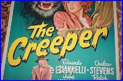 The Creeper 1948 1SH Movie Poster vintage original HORROR ART FELINE SEXY GIRL