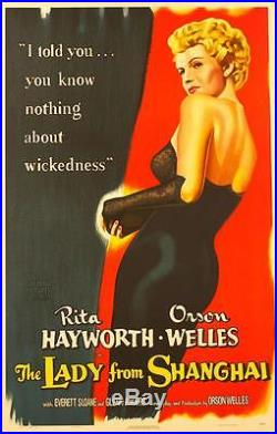 The Lady From Shanghai Vintage Movie Poster Lithograph Rita Hayworth Hand Pulled