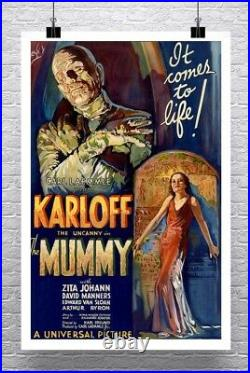 The Mummy 1932 Vintage Karloff Horror Movie Poster Rolled Canvas Giclee 24x34 in