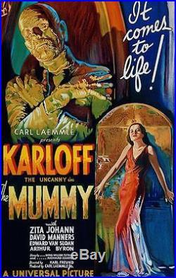 The Mummy Vintage Movie Poster Lithograph Boris Karloff Hand Pulled S2 Art