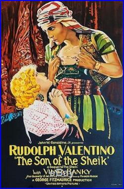 The Son of the Sheik Vintage Movie Poster Lithograph Rudolph Valentino S2 Art