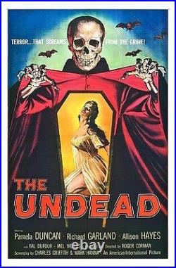 The Undead 1957 Vintage Horror Movie Poster Rolled Canvas Giclee 24x36 in