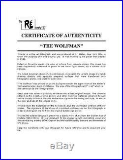 The Wolf Man Vintage Movie Poster Lithograph Lon Chaney Bela Lugosi S2 Art