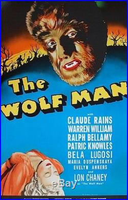 The Wolfman 1941 Vintage Movie Poster Hand Pulled Lithograph