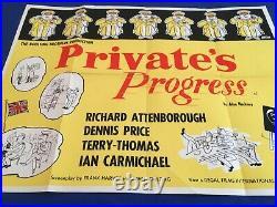 UK Vintage Quad Comedy Film Poster! Privates Progress. Richard Attenborough