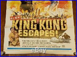 VINTAGE 1968 KING KONG ESCAPES ORIGINAL MOVIE POSTER 27x41