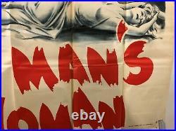 VINTAGE MOVIE POSTER 1955 No Man's Woman Original Six Sheet 81X81