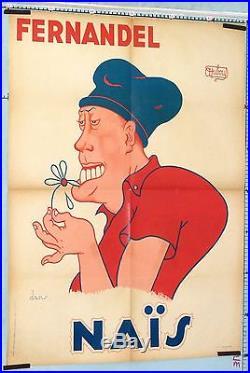 VINTAGE MOVIE POSTER DUBOUT FERNANDEL NAÏS circa 1945