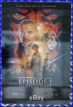 VINTAGE ORIGINAL CINEMA POSTER STAR WARS EP1 PHANTOM MENACE 1999 DS 27x40