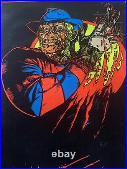 VTG Freddy Krueger Nightmare On Elm Street Black Light Velvet 1984 80s Poster