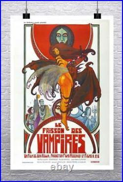 Vampires Vintage French Horror Movie Poster Rolled Canvas Giclee Print 24x36 in