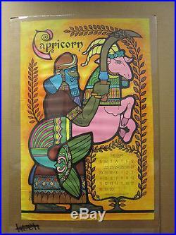 Vintage 1969 Capricorn original zodiac calendar poster The Goat Saturn 7505