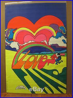 Vintage 1970 LOVE blacklight poster hippie peace 7844