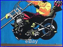 Vintage 1970s EASY RIDER Peter Fonda Black Light Film Movie Poster Psychedelic