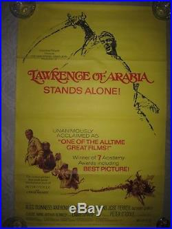 Vintage 1971 Lawrence of Arabia movie poster, original NOT reprint, 27 x 41