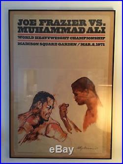 Vintage 1971 Muhammad Ali vs. Joe Frazier Neiman Heavyweight Boxing Fight Poster