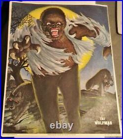 Vintage 1975 The Wolfman Glow In The Dark Poster Monster / Post Cereal Nos