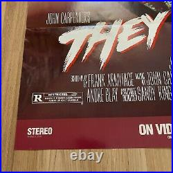 Vintage 1988 John Carpenter's THEY LIVE 1sh Home Video Movie Poster Roddy Piper