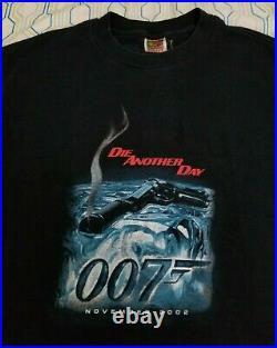 Vintage 2002 James Bond 007 Die Another Day Movie Promo T Shirt Gun Poster Small