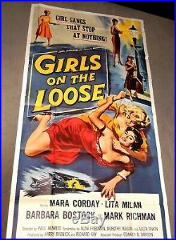 Vintage 3-SHEET Girls On The Loose 1958 MOVIE POSTERBad Girl, Pin Up, Prison