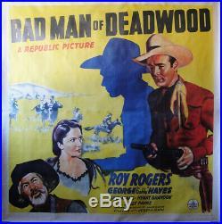 Vintage 6sht Movie Poster BAD MAN OF DEADWOOD on Linen Western Roy Rogers 1941
