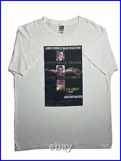 Vintage 90s James Bond 007 Goldfinger Shirt Size XL 1997 Promo Poster Sean