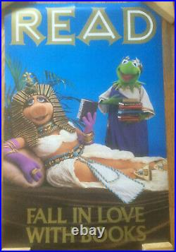 Vintage ALA READ Poster Miss Piggy and Kermit the Frog