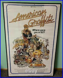 Vintage AMERICAN GRAFFITI 1973 ORIGINAL Movie Poster 27x40 George Lucas 70s
