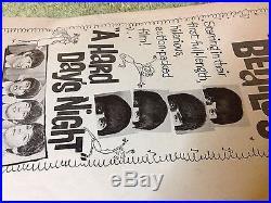 Vintage BEATLES A HARD DAYS NIGHT movie POSTER Ad's & PRINTERS PAD AD 1960's era