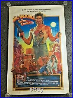 Vintage Big Trouble In Little China One Sheet Original Movie Poster 27 X 41