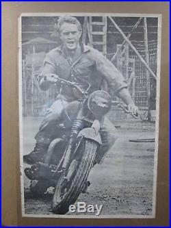 Vintage Bike motorcycle Steve McQueen 1960's movie poster in#G1424