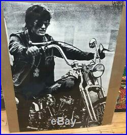 Vintage Black and White Poster Easy Rider Peter Fonda Large 1960 Biker