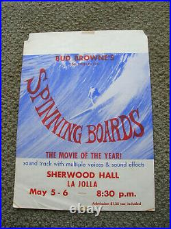Vintage Bud Browne Surf movie poster surfing spinning boards surfboard surfer 60