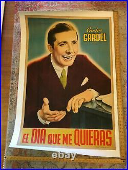 Vintage Carlos Gardel Movie Poster Linenbacked