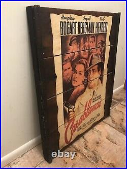 Vintage Casablanca collage movie poster mounted on wood