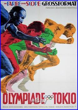 Vintage German Poster About The Movie Olympiade Tokio Tokyo 1964 Kon Ichikawa
