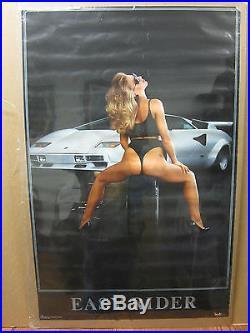 Vintage Hot Girl Easy rider man Cave car garage poster 1986 1270