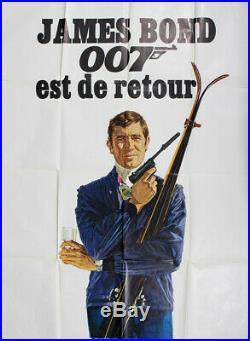 Vintage JAMES BOND 007 OHMSS French Movie Poster ski alps 1969 original
