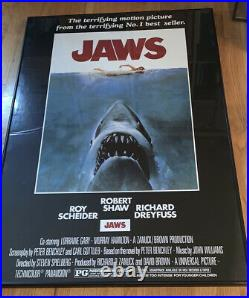 Vintage Jaws poster from 1975 movie framed and mounted 39x27 inches Collectible