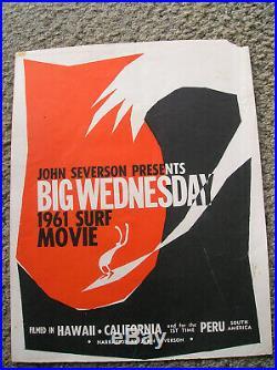 Vintage John Severson Surf movie poster surfing surfboard big wednesday 1961