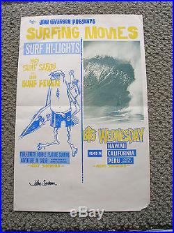 Vintage John Severson surf hi-lights vintage surf movie poster surfboard signed