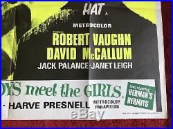 Vintage MAN FROM UNCLE SPY IN THE GREEN HAT Movie UK QUAD POSTER Thriller 1960s