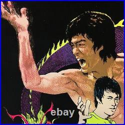 Vintage MINT, 1981, BRUCE LEE Kung Fu King BLACKLIGHT VELVET POSTER, #950