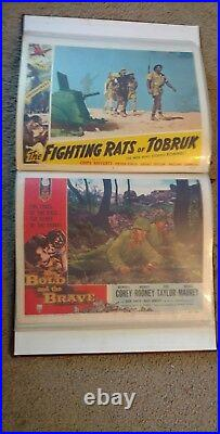 Vintage Military WW2 lobby cards Movie posters 11x17 Huge lot of 62 in album